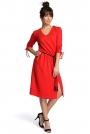 Czerwona Sukienka Boho z Rozszerzanym Dołem ze Sznurkowym Paskiem