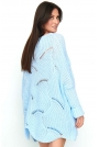 Błękitny Sweter-Ponczo z Warkoczowym Splotem