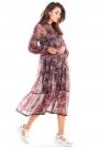 Zwiewna Wzorzysta Sukienka Szyfonowa -  Wzór 2