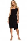 Czarna Wieczorowa Asymetryczna Sukienka z Odkrytymi Ramionami