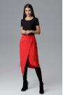 Czerwona Asymetryczna Zakładana Kopertowo Spódnica z Wiązaniem