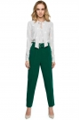 Zielone Klasyczne Spodnie w Kant z Wysokim Stanem