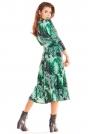 Zielona Rozkloszowana Midi Sukienka z Ozdobnym Motywem