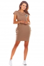 Beżowa Dzianinowa Mini Sukienka z Kieszeniami