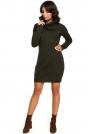 Khaki Długi Sweter- Sukienka z Szerokim Golfem