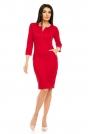 Czerwona Dopasowana Wizytowa Sukienka z Suwakiem przy Dekolcie
