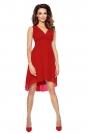 Czerwona Wyjściowa Sukienka z Kopertowym Dekoltem z Wydłużonym Tyłem