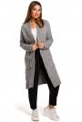 Szary Długi Sweter-Kardigan z Kieszeniami