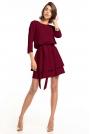 Sukienka z Rozkloszowanym Podwójnym Dołem - Burgundowa