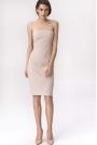 Beżowa Efektowna Ołówkowa Sukienka z Odkrytymi Ramionami