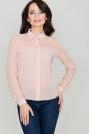 Różowa Klasyczna Koszula Damska Zapinana na Zatrzaski
