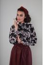 Elegancka Koszula na Stójce z Ozdobnymi Guzikami - Kwiaty