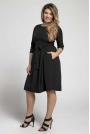 Czarna Klasyczna Sukienka z Marszczonym Dołem PLUS SIZE
