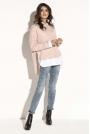 Pudrowy Asymetryczny Sweter z  Dekoltem w Łódkę