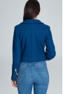 Niebieska Krótka Elegancka Kurtka z Suwakami