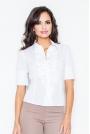 Biała Elegancka Koszula z Falbankami