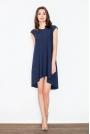 Granatowa Rozkloszowana Asymetryczna Sukienka z Półrękawkiem