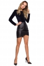 Czarna Asymetryczna Mini Spódnica z Eko-skóry