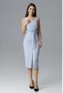 Błękitna Dopasowana Midi Sukienka Wizytowa za Kolano