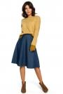 Musztardowy Kimonowy Sweter z Kontrastowymi Mankietami