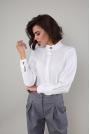 Elegancka Koszula na Stójce z Ozdobnymi Guzikami - Ecru