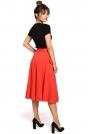 Czerwona Spódnica Rozkloszowana Dzianinowa z Kieszeniami