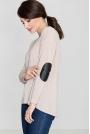 Beżowy Sweter z Łatami na Rękawach