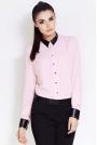 Różowa Klasyczna Koszula z Kołnierzykiem z Eko-skóry