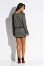 Srebrna Mini Sukienka z Gumką w Tali