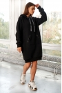 Sukienka Typu Bluza z Kapturem - Czarna
