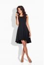 Rozkloszowana Asymetryczna Czarna Sukienka