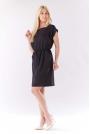 Czarna Sukienka z Gumkami w Talii z Kimonowym Rękawkiem