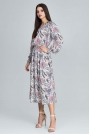 Stylowa Sukienka w Barwny Deseń z Bufiastym Rękawem - Wzór 79