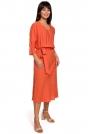 Pomarańczowa Efektowna Midi Sukienka z Paskiem