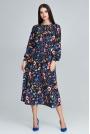 Stylowa Sukienka w Barwny Deseń z Bufiastym Rękawem - Wzór 77