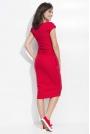 Czerwona Sukienka Bombka Midi z Rękawkiem