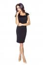 Czarna Sukienka Mini z Dekoltem Karo