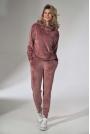 Dresowe Spodnie z Weluru - Różowe
