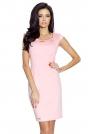 Jasno Różowa Sukienka Mini z Dekoltem Karo