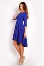 Niebieska Sukienka z Szerokim Asymetrycznym Dołem