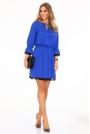 Niebieska Sukienka w Stylu Boho z Koronkową Wypustką