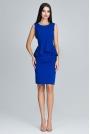 Niebieska Wizytowy Komplet Bluzka z Falbanką + Ołówkowa Spódnica