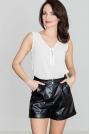 Czarne Krótkie Stylowe Spodnie z Eko-skóry