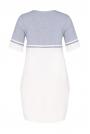 Ecru-szary Dzianinowa Dwubarwna Sukienka z Kontrastowymi Paskami