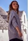 Szary Melanżowy Oversizowy Sweter z Półgolfem