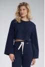 Krótka Bawełniana Bluza z Szerokim Rozciętym Rękawem - Granatowa