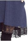 Gładka Granatowa Sukienka Trapezowa Wykończona Koronką
