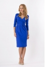 Chabrowa Elegancka Sukienka Midi z Kopertowym Założeniem