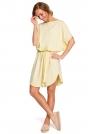 Żółta Krótka Oversizowa Sukienka z Paskiem