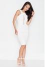Ecru Elegancka Sukienka z Transparentnym Panelem